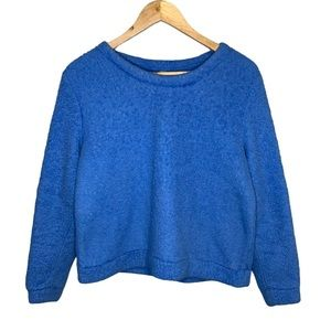 HUE Sapphire Blue Fluffy Fuzzy Crewneck Sweater